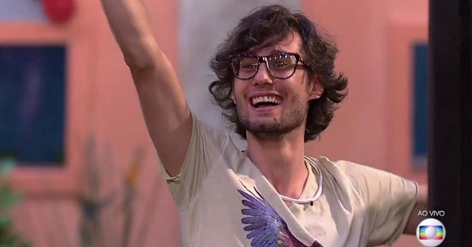 """Pedro comemora ao vencer a quarta prova do líder do """"BBB17"""