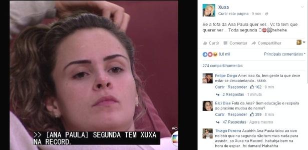 """Xuxa aproveitou a divulgação de Ana Paula em sua antiga emissora e publicou no Facebook: """"Se a fofa da Ana Paula quer ver, você também tem que querer"""" - Reprodução/Facebook"""