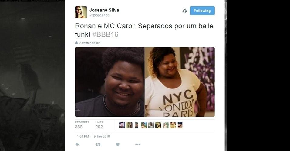 """19.jan.2016 - O estudante de filosofia Ronan, do """"BBB16"""", foi comparado à funkeira MC Carol, que participou do reality """"Lucky Ladies"""""""