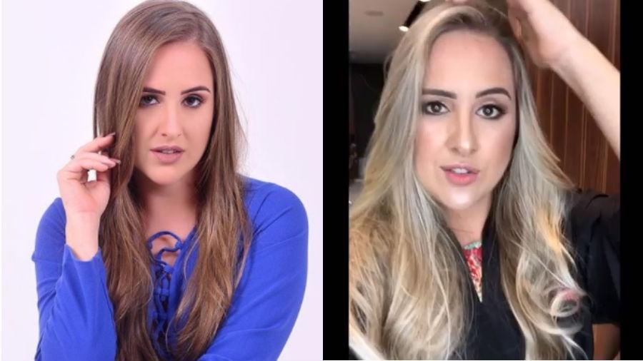 Patrícia Leite antes e depois de mudar o visual e ficar loiríssima - Reprodução/Instagram