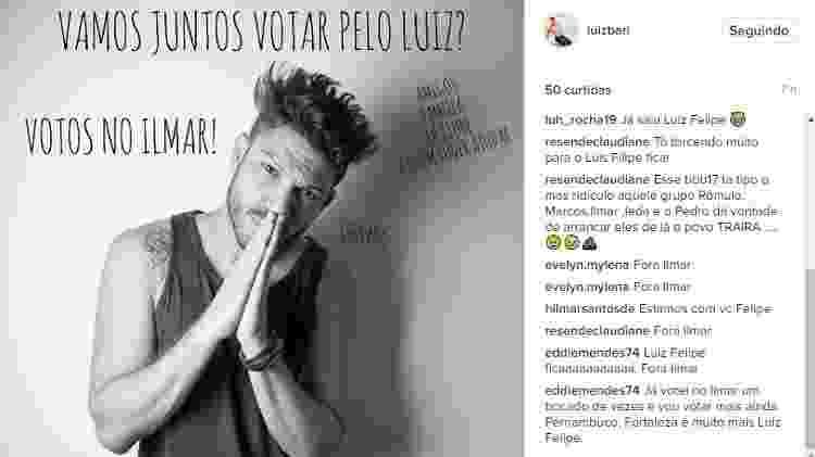 Perfil de Luiz Felipe no Instagram pede eliminação de Ilmar - Reprodução/Instagram/luizbari - Reprodução/Instagram/luizbari