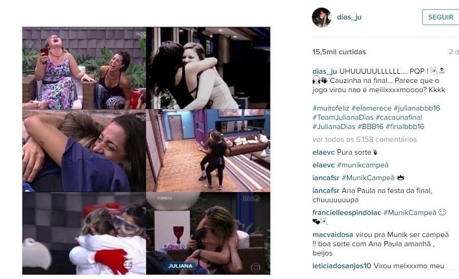 Assim que Cacau garantiu a primeira vaga para a grande final, Juliana vibrou nas redes sociais e não esqueceu de alfinetar Ana Paula: