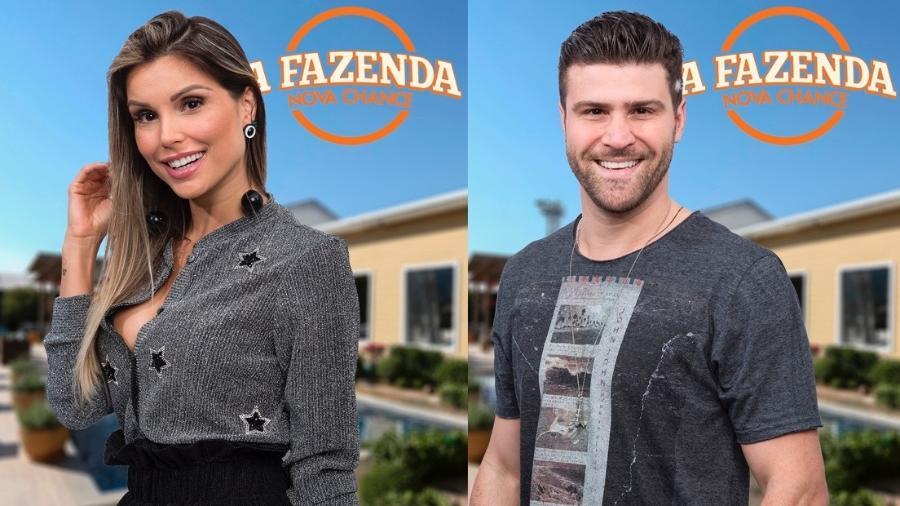 """Flávia Viana e Marcelo Ié Ié formaram a nona roça de """"A Fazenda 9"""" - Montagem/Antonio Chahestian/Record TV"""