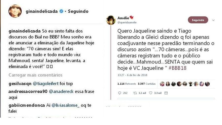 Mensagens com sugestões para Tiago Leifert usar no discurso de eliminação de Jaqueline - Reprodução