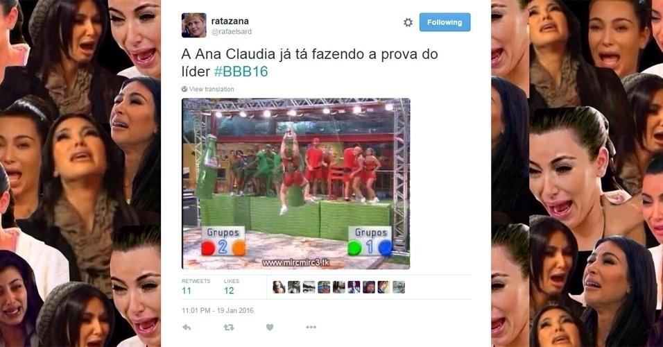 """19.jan.2016 - Maria Claudia, do """"BBB16"""", foi comparada a Paulinha em meme que lembrou a clássica prova do guaraná no """"BBB11"""""""