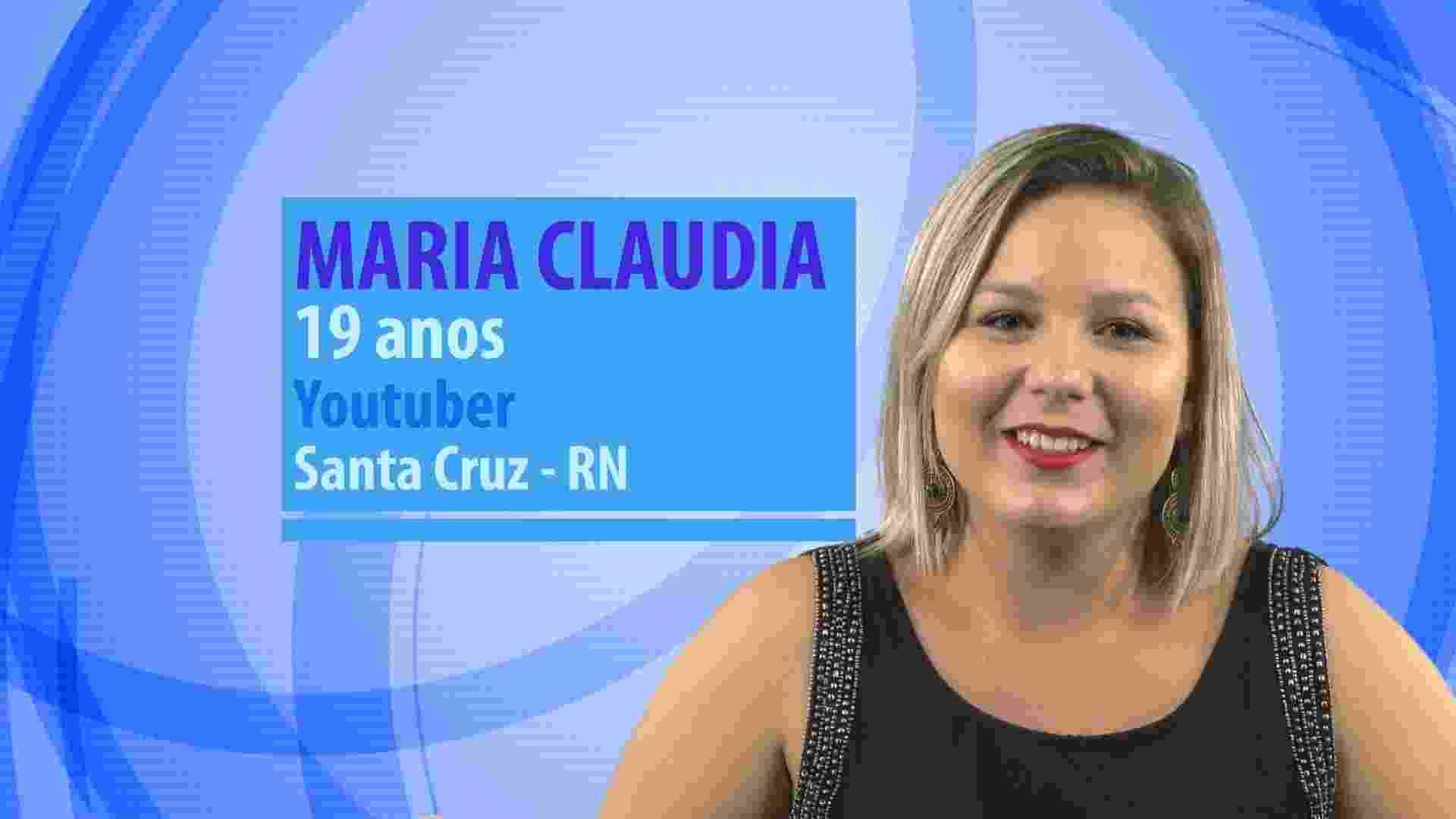 """Maria Claudia, participante do """"BBB16"""", tem 19 anos, é youtuber e mora em Santa Cruz (RN) - Divulgação/TV Globo"""