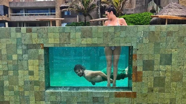 Luan Santana e Jade Magalhães curtem férias em resort em Alagoas