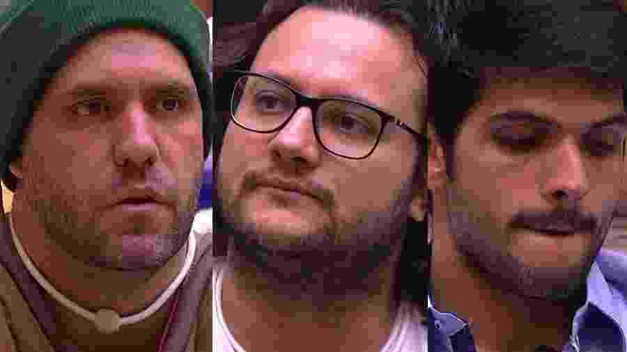 """Caruso, Diego e Lucas formam o quinto paredão do """"BBB18"""" - Montagem/TvGlobo"""