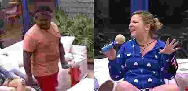 21.jan.2016 - Ronan e Maria Claudia aparecem segurando esponja que imita a Rainha Elizabeth 2ª, da Inglaterra - Reprodução/TV Globo - Reprodução/TV Globo