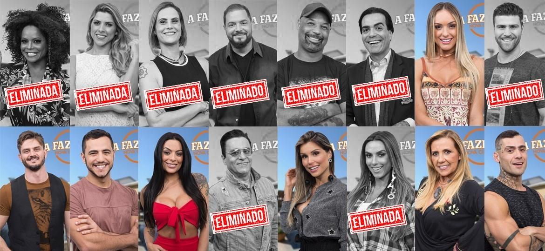 """Peões que continuam na disputa após nona roça de """"A Fazenda 9"""" - Montagem/Antonio Chahestian/Record TV"""