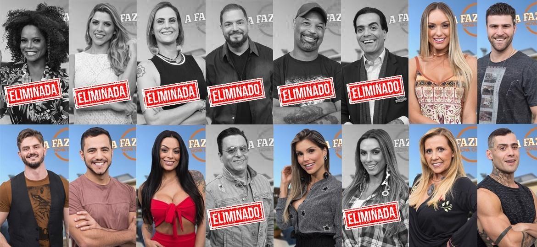 """Os peões que continuam na disputa após a oitava roça de """"A Fazenda 9"""" - Montagem/Antonio Chahestian/Record TV"""