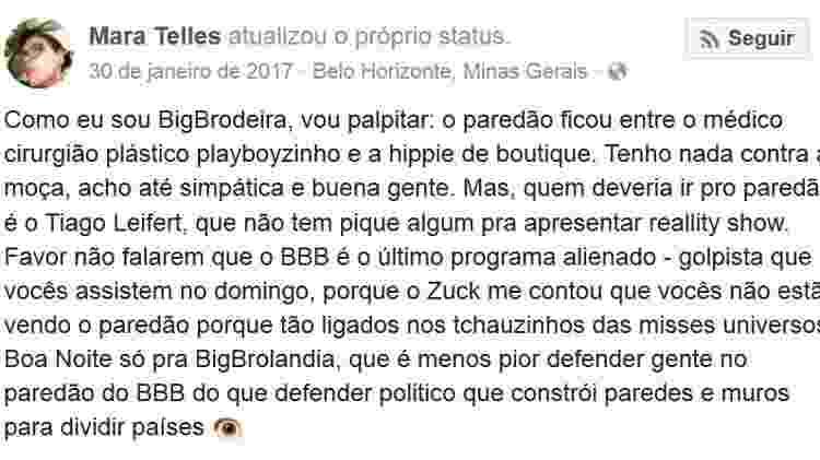 """Mara Telles afirmou que Tiago Leifert """"não tem pique nenhum para apresentar 'Big Brother Brasil'"""" - Reprodução/Facebook"""