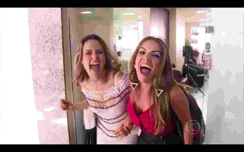 """15.mar.2016 - Ana Paula estreia como repórter do """"Vídeo Show"""" e entrevista a ex-BBB Anamara - Reprodução/TV Globo"""