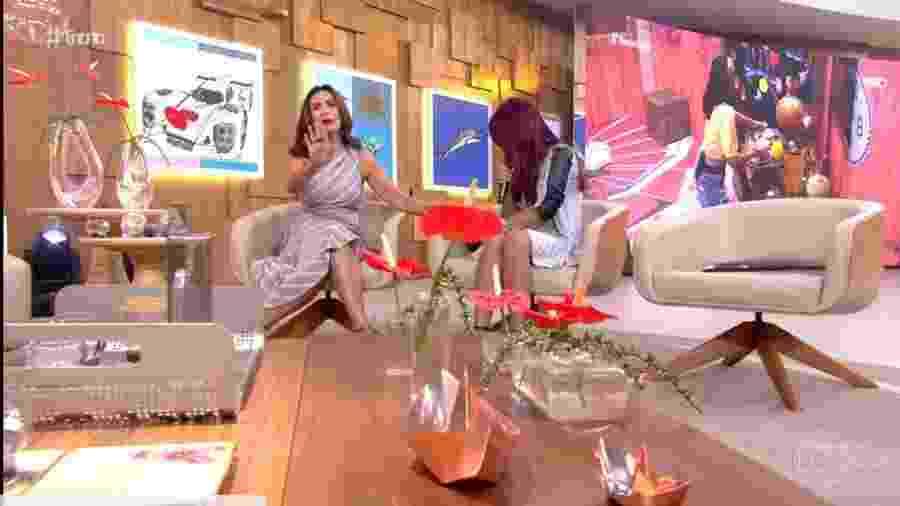 """Celular da mãe de Gleici toca durante """"Encontro"""" e Fátima reclama: """"Gente, deixa para falar com ela daqui a pouquinho"""" - Reprodução/Globo"""