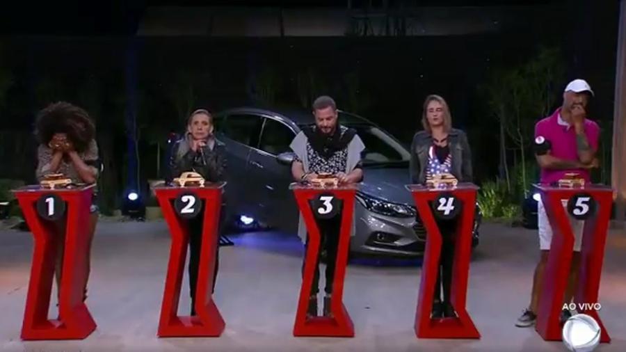 """Cinco finalistas da primeira prova surpresa de """"A Fazenda 9"""" - Reprodução/Recrod"""