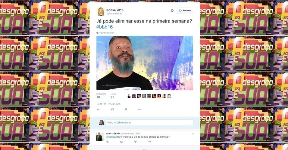 """19.jan.2016 - Laércio e sua barba azul já enfrentaram resistência dos internautas mais críticos que acompanham o """"BBB16"""""""