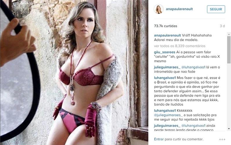 "11.mar.2016 - Ana Paula mostra foto dos bastidores de seu ensaio sensual. ""Vrá!!! Hahahahaha Adorei meu dia de modelo"", escreveu a ex-BBB"
