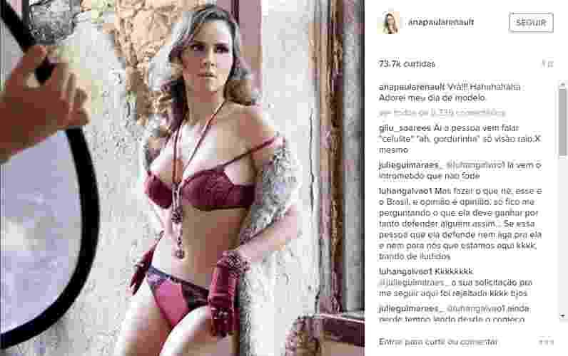 """11.mar.2016 - Ana Paula mostra foto dos bastidores de seu ensaio sensual. """"Vrá!!! Hahahahaha Adorei meu dia de modelo"""", escreveu a ex-BBB - Reprodução/Instagram/anapaularenault"""