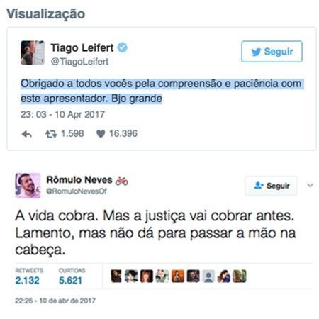 Leifert e Rômulo falam nas redes sociais sobre expulsão de Marcos - Reprodição/TV Globo