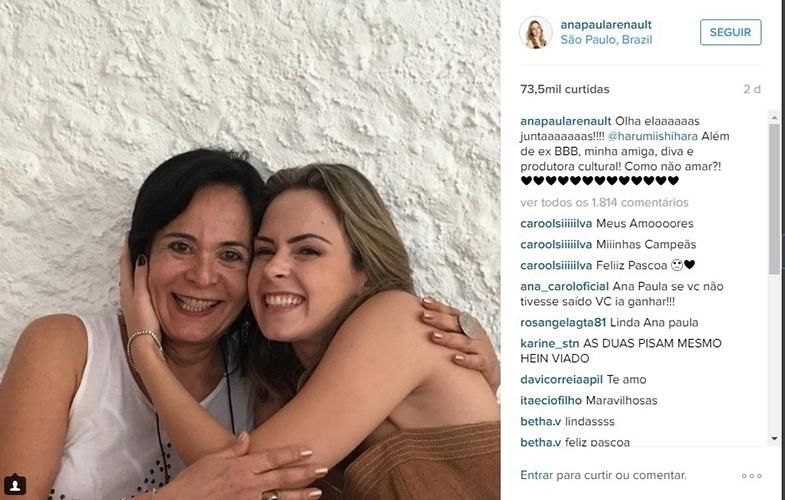 26.mar.2016 - Ana Paula comemora encontro com Harumi, a primeira eliminada do