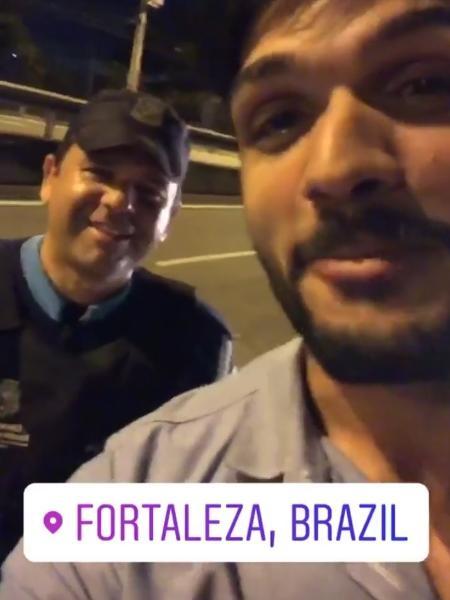 Lucas é parado por policial que queria tirar foto com o ex-BBB - Reprodução/Instagram