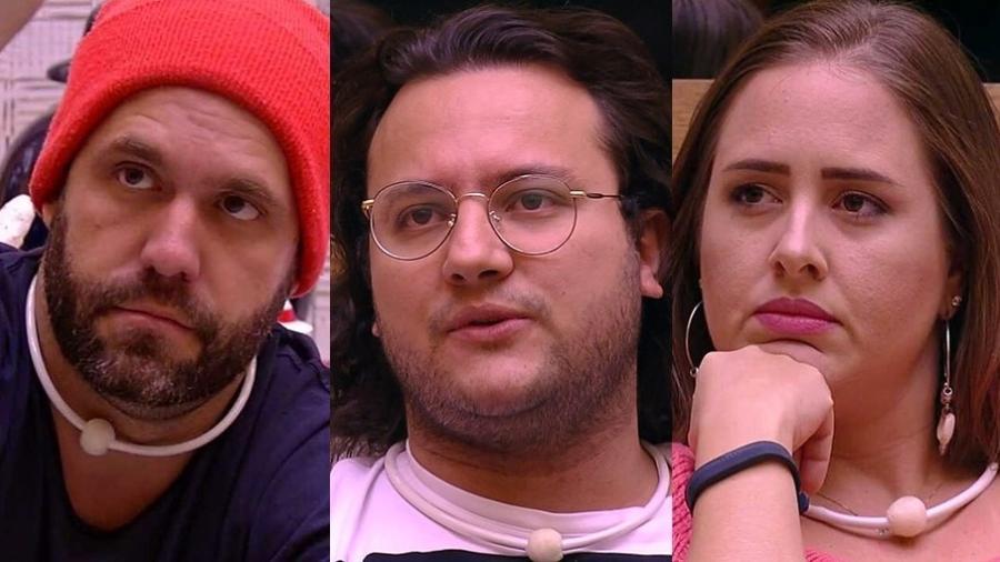 """Caruso, Diego e Patrícia formam o sétimo paredão do """"BBB18"""" - Montagem/TvGlobo"""