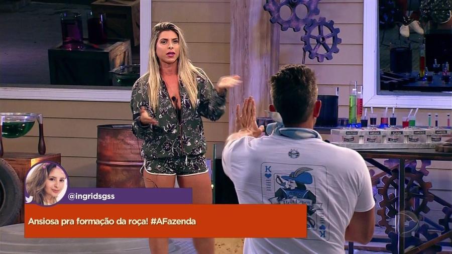 """Ana Paula Minerato e Marcos discutem durante atividade em """"A Fazenda 9"""" - Reprodução/Record"""