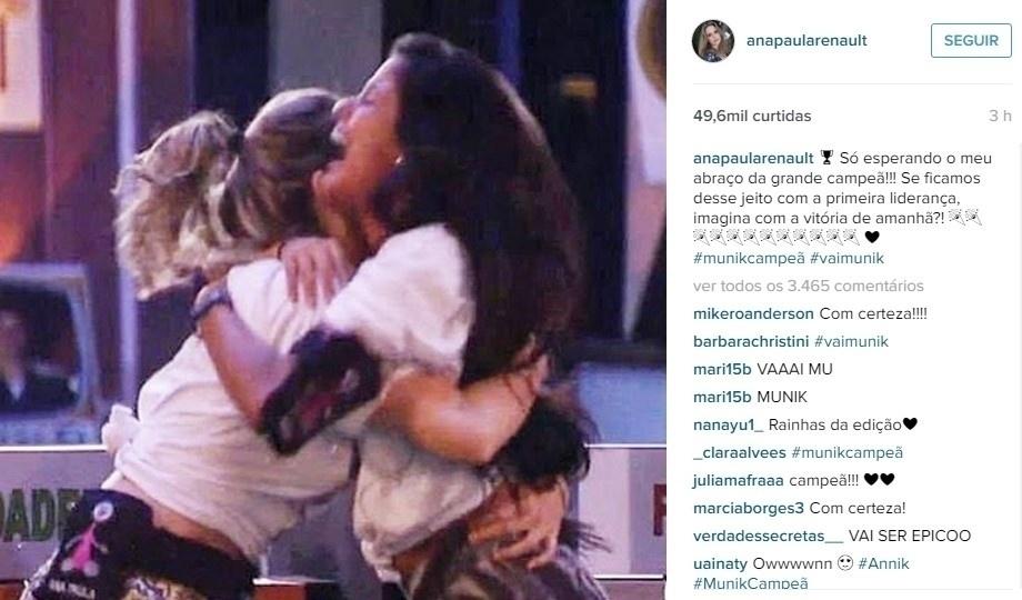 No instagram, Ana Paula aposta na vitória de Munik: