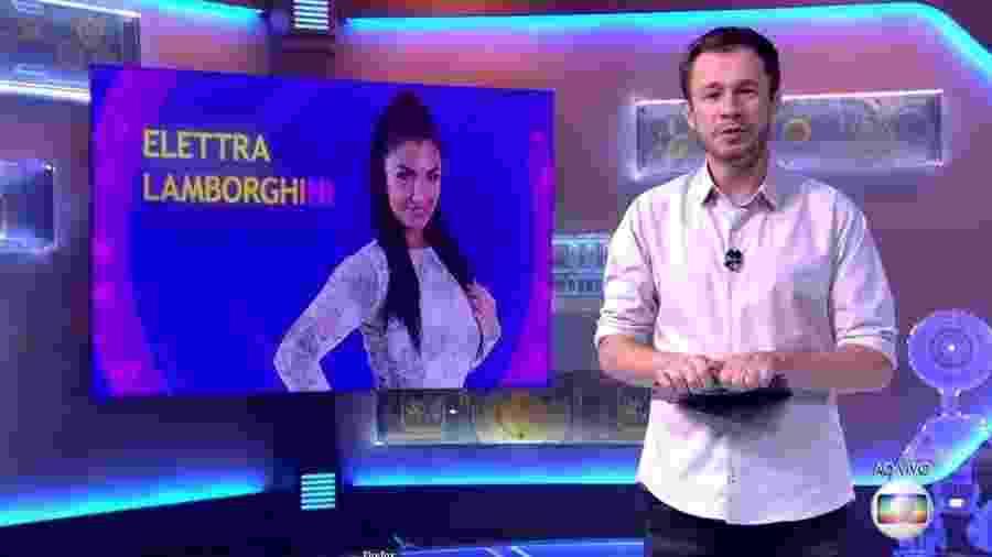 "Tiago Leifert anuncia Elettra Lamborguini no ""BBB17"" - Reprodução/TVGlobo"