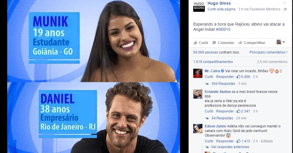 """20.jan.2016 - Blogueiro Hugo Gloss brinca com participantes do """"BBB16"""", Munik e Daniel"""