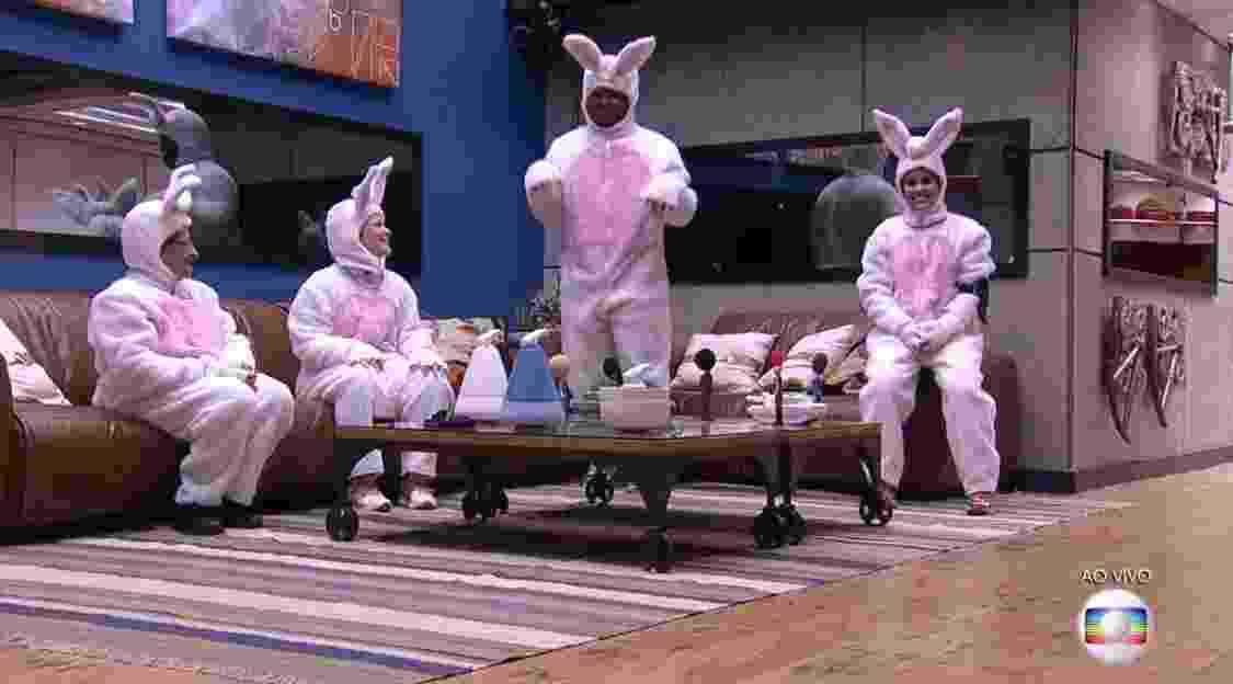 27.mar.2016 - Participantes se vestiram de coelhinhos para participar da segunda etapa da prova do líder - Reprodução/TV Globo