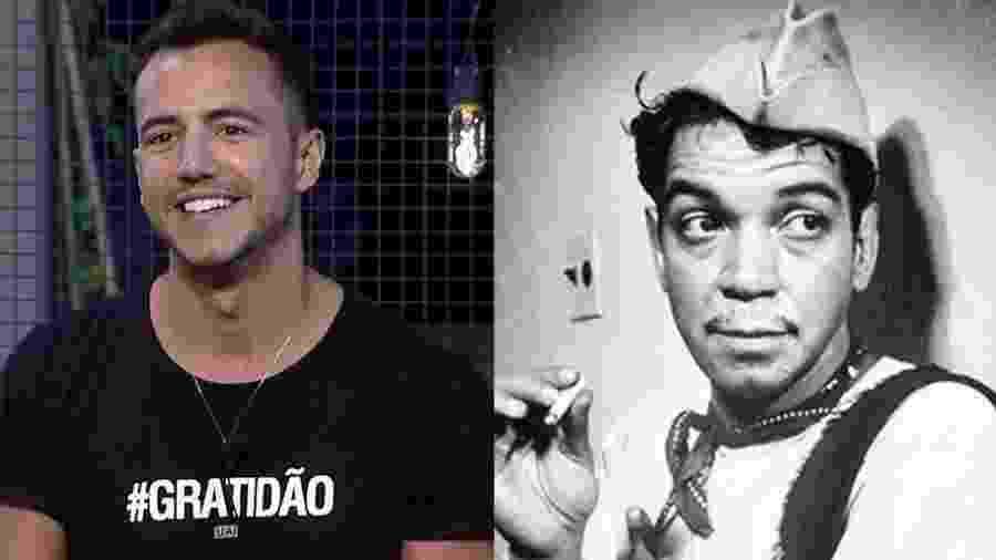 "Matheus Lisboa, participante de ""A Fazenda 9"", e o ator mexicano Cantinflas - Montagem"