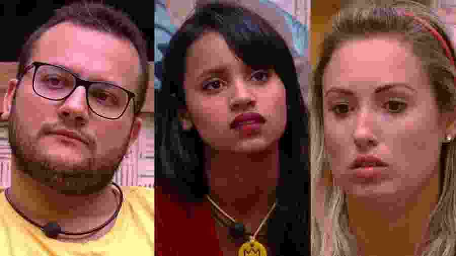 """Diego, Gleici e Jéssica formam o oitavo paredão do """"BBB18"""" - Reprodução/TvGlobo"""
