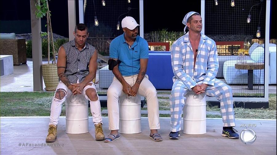 """Yur, Dinei e Marcos formam a quarta roça de """"A Fazenda 9"""" - Reprodução/R7"""