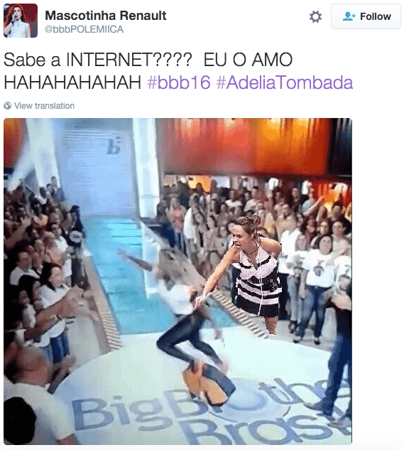 9.mar.2016 - Ana Paula também participou dos memes do quase tombo de Adélia - Reprodução/Twitter @bbbPOLEMIICA