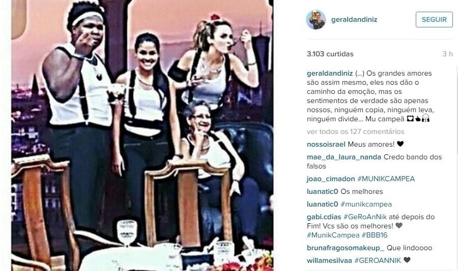 Dona Geralda também está confiante e ansiosa pela vitória de Munik. No instagram, a professora aposentada publicou uma foto com Pequi, Ronan e Ana Paula e apostou:
