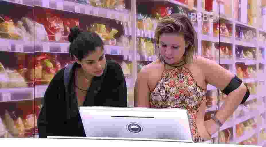 """14.mar.2016 - Maria Claudia e Munik são sorteadas para fazer as comprar da semana no """"BBB16"""" - Reprodução/TV Globo"""