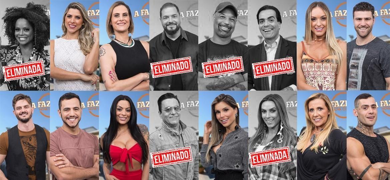 """Participantes de """"A Fazenda 9"""" após resultado da sexta roça  - Montagem/Antonio Chahestian/Record TV"""