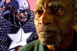 Desenho do Capitão América negro, ao lado, Carl Lumbly em cena