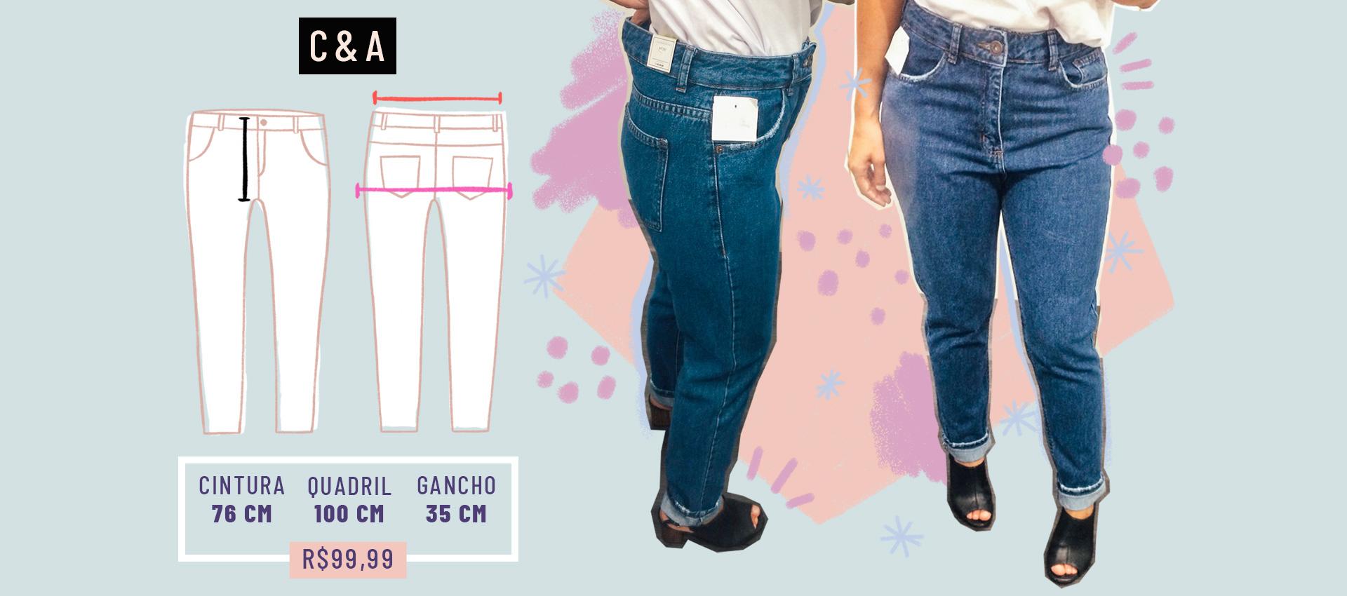 a7eadc1a7 Na C&A, tinham tantos modelos com elastano que a repórter teve de pedir  ajuda a um vendedor, que lhe trouxe uma calça sem elastano.