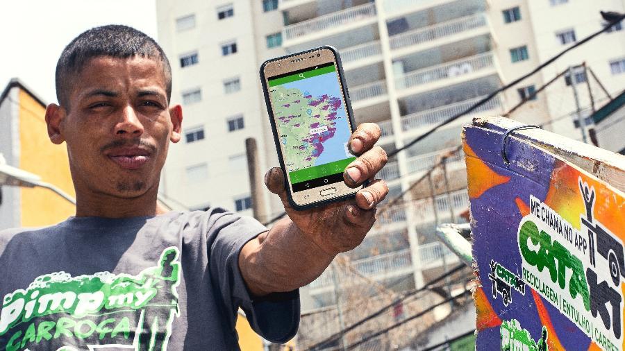 Michael Douglas Bezerra da Silva, um dos 2.500 catadores cadastrados no Cataki. Ana Oshiro_Divulgação - Divulgação