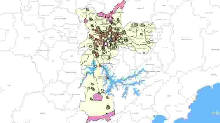 Mapa de Bens tombados na Cidade de São Paulo - Reprodução/GeoSampa