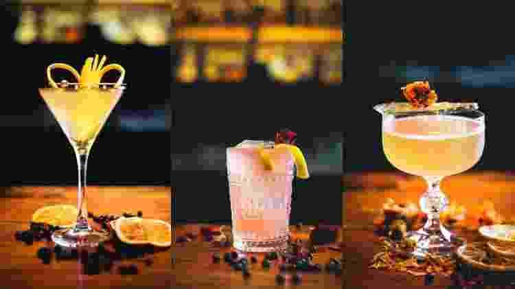 French Blonde, Acid Rose e Juniper Garden, os autorais apresentados no Liquor Lab do RAW Burguer. - Julia Guedes/Divulgação