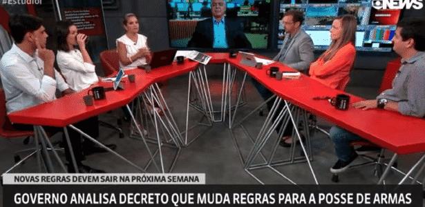 """Durante debate sobre posse de armas, jornalista cai no """"gemidão do WhatsApp"""" ao vivo na GloboNews - Reprodução"""