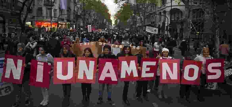 "Ato do movimento ""Ni Una Menos"", que também aconteceu na Argentina - AFP"
