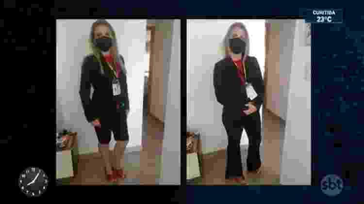 A repórter do SBT Nathalia Fruet trocou de roupa para entrar no Palácio do Planalto - Imagem: Reprodução/SBT - Imagem: Reprodução/SBT