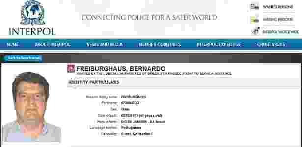 O doleiro Bernardo Freiburghaus, que trabalhou para a Odebrecht - Reprodução/Interpol