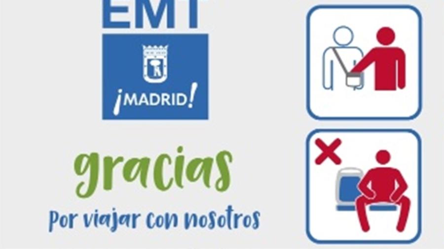 """Aviso em Madri pede para passageiros sentados nos ônibus """"não abrirem as pernas"""" - Twitter/ Ayuntamiento Madrid"""