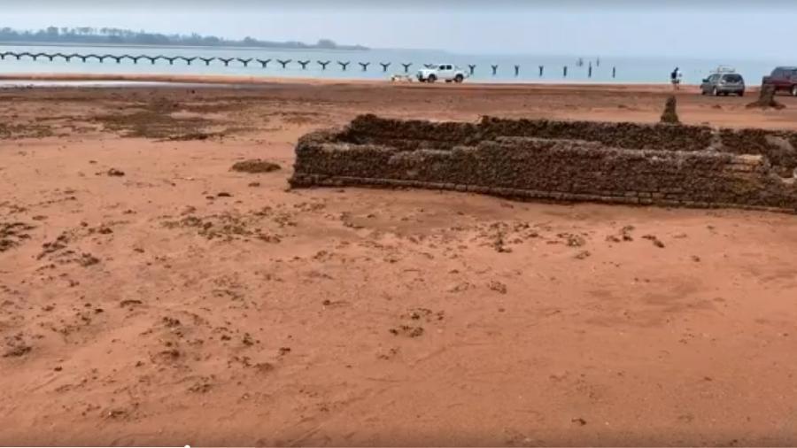 Ruínas da década de 70 são reveladas após seca do rio Paraná em São Paulo - Reprodução/TV TEM