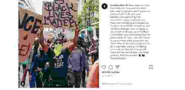 hamilton protesto - Reprodução/Instagram - Reprodução/Instagram